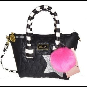 Betsey Johnson black quilted cross body satchel